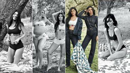 De izquierda a derecha Kourtney; Khloe con Kim; Kylie y Kendall; y Kendall sola.