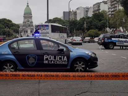 Cordón de seguridad en la escena del atentado Video: cámara del Ministerio de Seguridad donde registran el atentado.