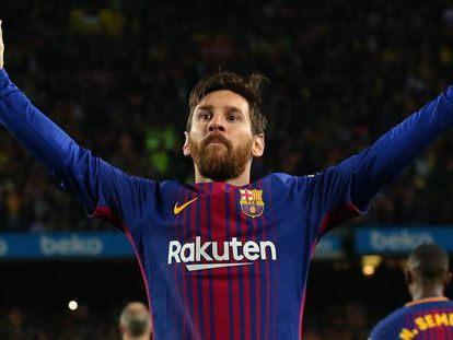 Messi festeja su gol al Madrid en el último clásico.