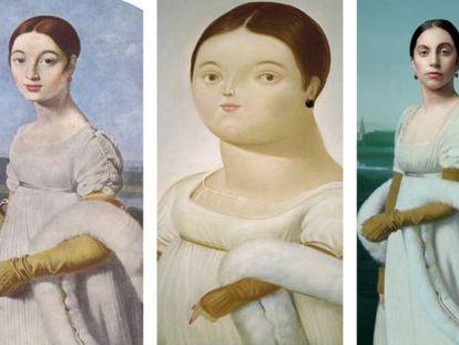 A la izquierda, 'Mademoiselle Rivière', de Ingres; en el centro, la obra de Fernando Botero que lleva el mismo título y a la derecha, Lady Gaga caracterizada como la retratada por Ingres.