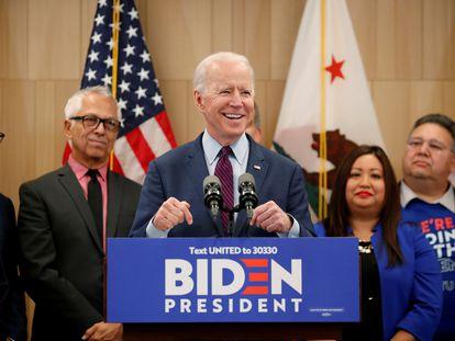 Joe Biden, durante un acto de campaña en  Los Angeles, el pasado marzo.