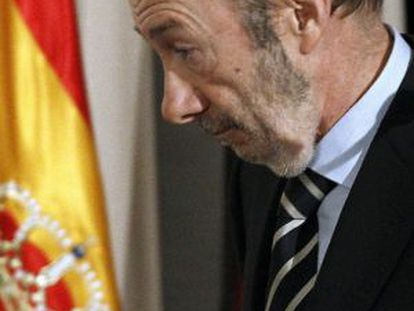 Rubalcaba, este martes en Madrid.