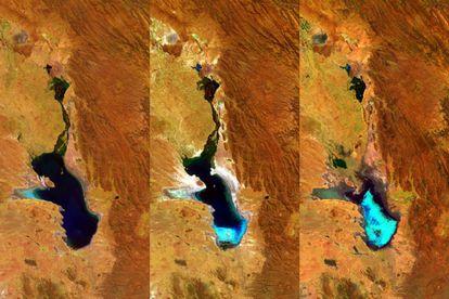 Tres imágenes del Poopó, captadas por la ESA.