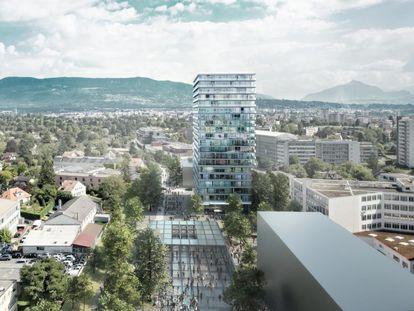 Torre de apartamentos y oficinas en Ginebra, el último proyecto hasta la fecha de Lacaton & Vassel. En él, pudieron aplicar sus ideas desde cero y sin necesidad de remodelar el edificio.