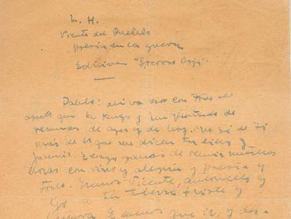 Carta de Miguel Hernández a Neruda sobre cuya autenticidad hay dudas.