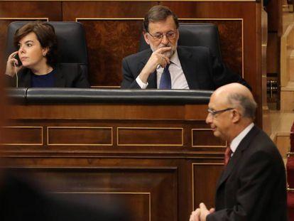 El ministro de Hacienda, Cristóbal Montoro, en el Congreso de los Diputados.