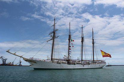 El buque escuela 'Juan Sebastián Elcano' a su llegada a Veracruz (México) el pasado día 20.