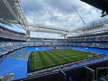 Vista general del Santiago Bernabéu, este sábado.