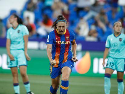 Alexia Putellas celebra uno de sus goles ante el Levante en la final de la Copa de la Reina.
