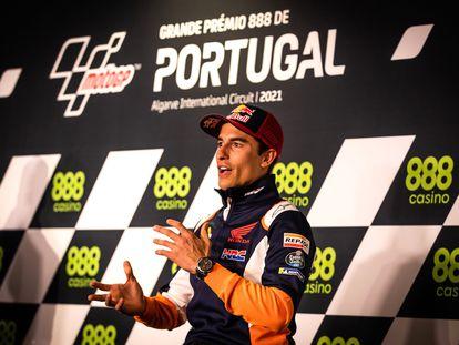 Marc Márquez, durante la conferencia de prensa en el circuito de Portimao.