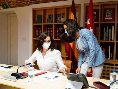 Isabel Díaz Ayuso, durante el Consejo de Gobierno Extraordinario de Madrid.