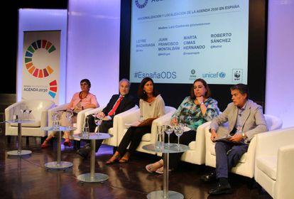 Participantes del Panel de Alto Nivel para la Agenda 2030 este jueves en Madrid.