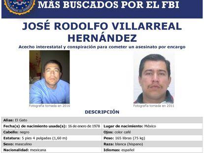 La tarjeta de búsqueda del narcotraficante mexicano José Rodolfo Villarreal Hernández.