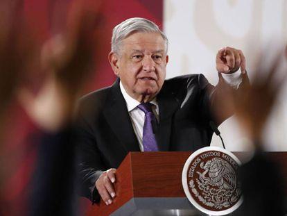 El presidente de México durante su conferencia de prensa matutina.