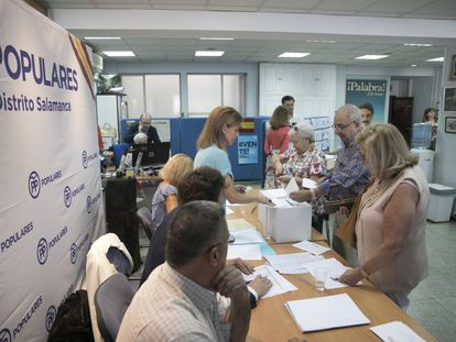 Votaciones del PP en el distrito de Salamanca (Madrid).
