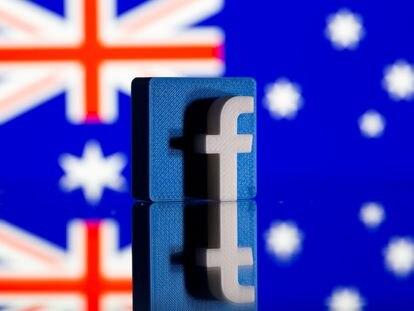 Logo de Facebook ante una bandera australiana.
