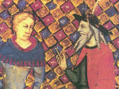 'Merlín el mago, tutor de Arturo', tapiz de 1490.