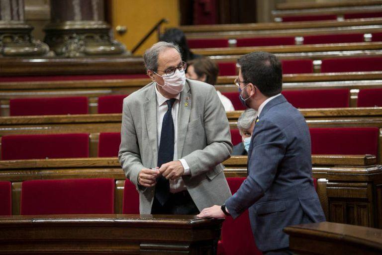 Quim Torra y Pere Aragonè en el pleno del Parlament de Catalunya.