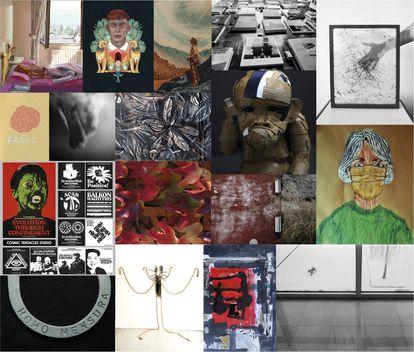 Varias de las obras que se exponen en la muestra virtual '#ARTdemia'.