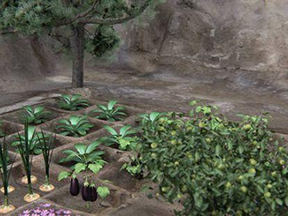 Recreación del jardín funerario hallado en Dra Abu el Naga (Luxor) por la misión del CSIC.