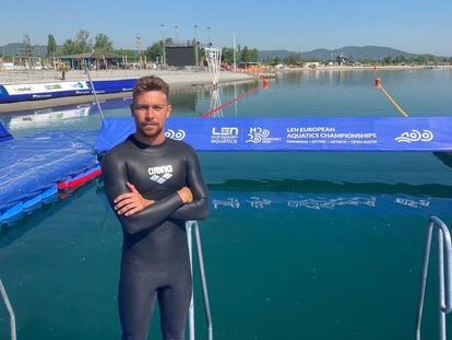 Alberto Martínez durante el Europeo de aguas abiertas del pasado mayo.