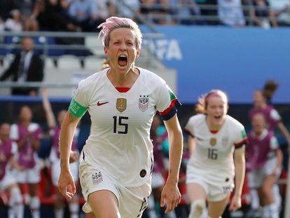 Megan Rapinoe celebra un gol en el Mundial de Francia 2019.