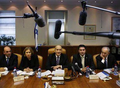 El gabinete israelí durante una reunión celebrada ayer