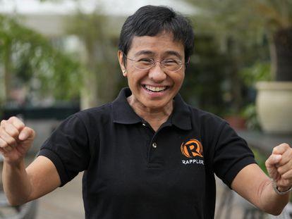 Maria Ressa, durante una entrevista en la ciudad de Taguig, en Filipinas, este sábado.