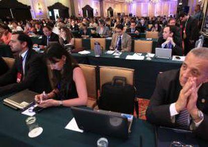 Fotografía tomada este miércoles en la que se registró un plano general del recinto donde se lleva a cabo la Conferencia Iberoamericana de Telecomunicaciones, en Ciudad de Panamá (Panamá).