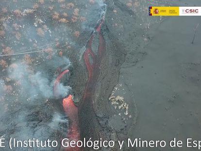 El trazado de lava del volcán de La Palma. IGME