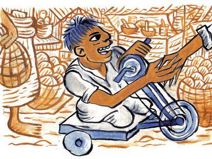 Una ilustración sobre un niño guatemalteco con discapacidad.
