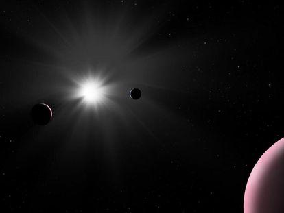 Ilustración que muestra el sistema planetario Nu2 Lupi, que fue explorado recientemente por el observador de exoplanetas de la ESA, 'Cheops'.