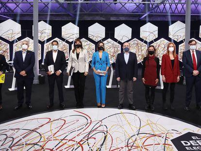 Los participantes en el debate de candidatos a las elecciones catalanas del 14F, emitido por La Sexta.