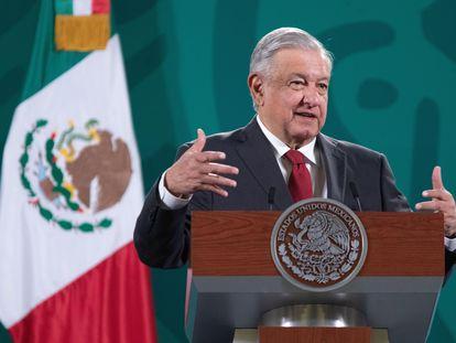 El presidente Andrés Manuel López Obrador, en su rueda de prensa este lunes.