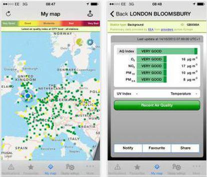 EuropeAir mide la calidad del aire en el territorio europeo.