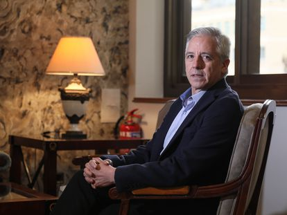 Álvaro García Linera, exvicepresidente del Gobierno de Bolivia, durante la entrevista en Madrid.