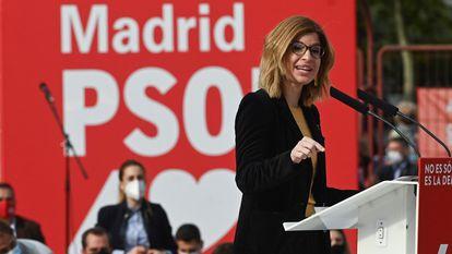 Hana Jalloul, en el cierre de campaña del PSOE en las elecciones de Madrid del 4-M.