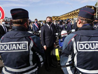 El presidente francés Emmanuel Macron el 5 de noviembre en la frontera franco-española en Le Perthus