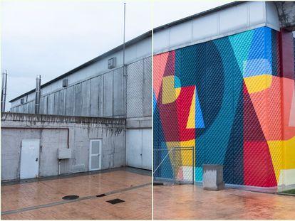 A la izquierda, parte no pintada de la Alhóndiga de Getafe. A la derecha, parte del edificio tras la intervención de Boa Mistura.