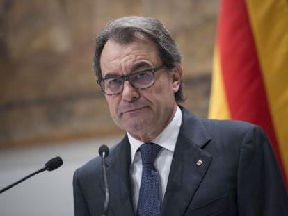 Artur Mas durante su comparecencia en el Palau de la Generalitat.