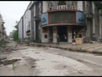 La ciudad de Homas, completamente destruída.