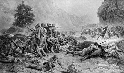 'Los últimos 11 de Maiwand', una pintura de Frank Feller que refleja la derrota británica en Maiwand el 27 de julio de 1880.