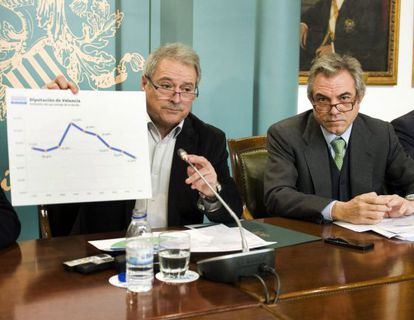 Alfonso Rus presidente de la Diputación de Valencia junto al vicepresidente Máximo Caturia en una rueda de prensa.