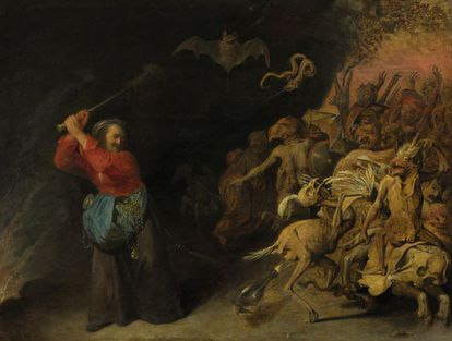 El cuadro 'Dulle Griet of Helleveeg', que pintó David Rijckaert III en 1650, del Museo de Historia de Viena, que se exhibe en Brujas.