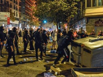 Disturbios en Girona en el tercer aniversario del referéndum ilegal del 1 de octubre del 2017.