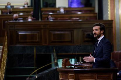 El líder del Partido Popular, Pablo Casado, durante una intervención en el pleno del Congreso el pasado 30 de junio.