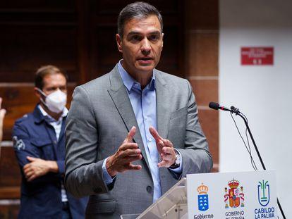 El presidente del Gobierno de España, Pedro Sánchez, este viernes en Santa Cruz de La Palma.