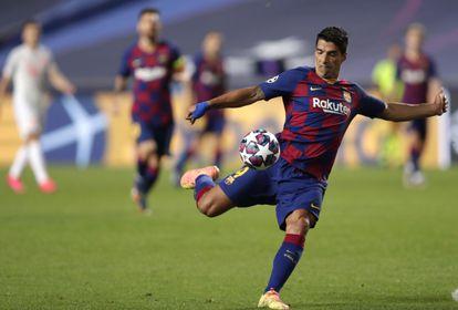 Luis Suárez, en el partido del Barcelona ante el Bayern en los cuartos de final de la Champions.