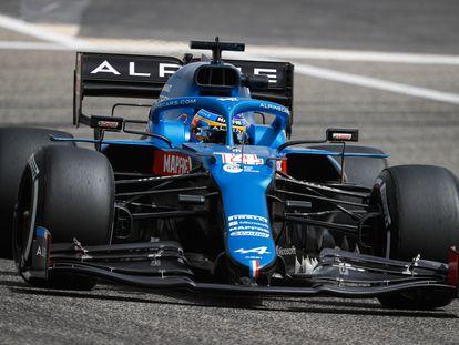 Fernando Alonso, en su estreno del monoplaza Alpine con el que protagonizará su regreso a la F1 dos años después