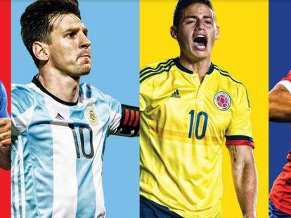 Clint Dempsey, Lionel Messi, James Rodríguez y Alexis Sánchez.